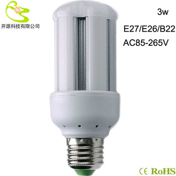 Free shipping 3528 SMD 3W led bulb light 85-265v high lumen 270lm led corn lamp e27  led light lamp bulb 3w 220v