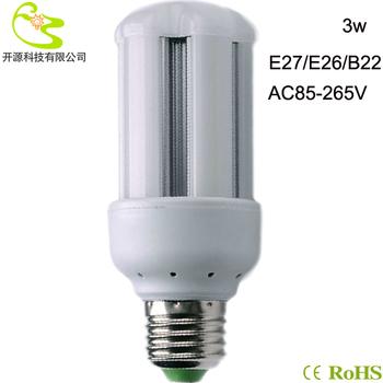 Free shipping 3528 SMD 3W led bulb light 85-265v high lumen 270lm led corn lamp e27  led light lamp bulb 3w 220v