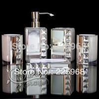 Blink-blink crystal resin bathroom five piece set sliver stainless steel bathroom sets toiletries wedding gifts sanitary ware
