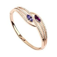 2014 NEW COMING  GRACEFUL CLASSIC ROSE GOLD PLATED JEWELRY CRYSTAL BRACELET FOUR YOUR HONEY PROMOTION