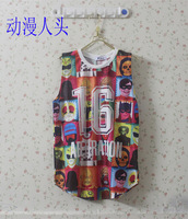 Fashion zipper HARAJUKU colored drawing fruit human head peones pattern gauze vest t-shirt