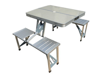 Outdoor tables and chairs set aluminum alloy portable folding casual one piece tables and chairs table five pieces set