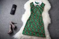 Wholesale&Retail Free Shipping 2013 women's spring and summer neckline vintage print slim sleeveless tank dress one-piece dress