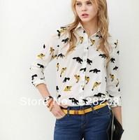 2013 fashion turn down collar animial printed  women blouses