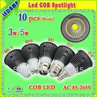E27 3w /5w COB LED spotlights 10pcs - black spotlights AC85-265V -GU10/GU5.3/B22/E14
