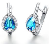 3 colors water drop crystal 18k fashion jewelry 2013 Austria crystal girl's stud women's earring f wholesale  #8271