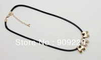 18K Gold Plated Pendant Necklace Short Design. Wholesale Black Thread Necklace for Fashion Ladies. H Pendant with Rinestone