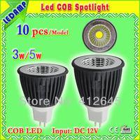 black aluminum profile 3w 5w led lamp 12v MR16 COB spotlight bulb Super bright warm white / cool white focos led
