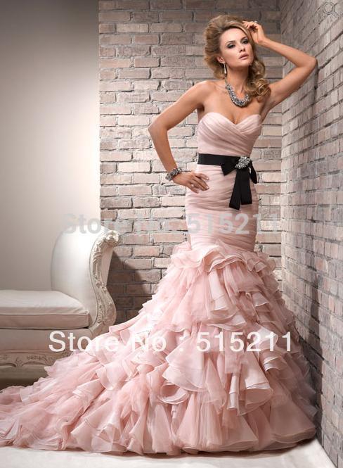 Hot Sale Pleated Sweetheart Black Sashes Organza Ruffles Pink