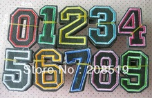AE0102 Patches Appliques Embroidery Iron On 20pcs Arabic number Fashion patches for clothes(China (Mainland))