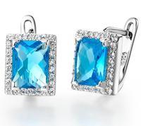 cube charm korea style 3 colors imitation diamond sliver charm elegance earrings Austria crystal women's earring wholesale #8277
