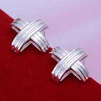 Free Shipping Wholesale 925 Silver Earring Fashion Sterling Silver Jewelry Stripe Cross Earrings SMTE031