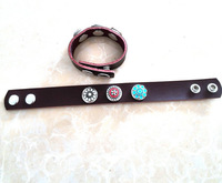 AQ Fashion 2014 hottest selling genuine leather bracelets double circle alloy buttons big sales