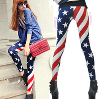 Milk silk american flag stripe patchwork ankle length legging female personality skinny pants