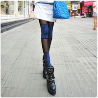 Female spring summer thin candy color faux leather legging gauze patchwork slim legging