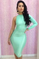 Wholesale Lady's Pinup Sheath Dress Sexy Blue Celebrity Dresses New  Womens Neon Sleeve Long Party Club Bandage Dress