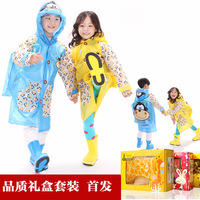Child raincoat school bag belt cartoon raincoat rain boots gift box set