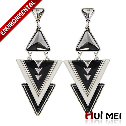 Fashion Punk Triangle Enameling Beads Chunky Crystal Simulated Gemstone Pendant Earrings Jewelry for Women Girls(China (Mainland))