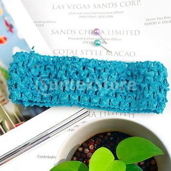 Free Shipping 1.5 Inch Elastic Baby Toddler Girls Crochet Headband - Turquoise