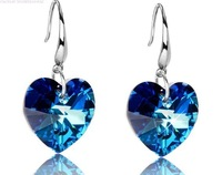 'OCEAN HEART' 925 silver Austrian Ocean Blue Heart Crystal  Earring