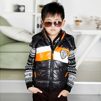 Retail 1 pcs spring autumn winter 2013 children's cotton vest thickening hooded baby boy waistcoat New High CC0537