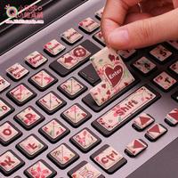 Accounts keyboard stickers small fresh cartoon powder desktop laptop stereo