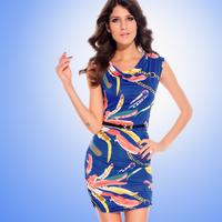 2013Free shipping Clothing 2013 fashion sleeveless high waist slim fancy casual one-piece dress 2758