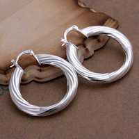 Free Shipping Wholesale 925 Silver Earring Fashion Sterling Silver Jewelry Twisted Line Earrings SMTE155