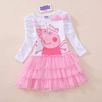 (Au035)Free Shipping! 2015 Fashion Peppa Pig  Girls Kids Long Sleeve Sleeved Summer Tutu Dress 5 Pcs/Lot