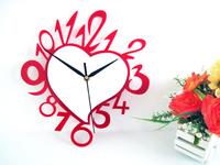 Free shipping Love and Digital shape Home decoration Silent Acrylic quartz Wall Clock Retail