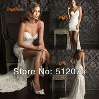 Free Shipping New Arrival Sweetheart Bodice Lace Chiffon Short Front Long Back Wedding Dresses Bride Dresses
