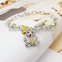 New Fashion Cool Full Rhinestone Lovely Teddy bears Crown Bracelets Bracelet+free shipping
