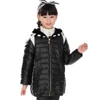 2014 child down coat medium-long female child big boy winter thickening down outerwear 8619
