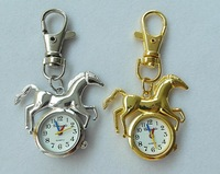 Freeshipping 10pcs New Horse Shape Women Ladies Kids Analog Keychain Pocket Fob Quartz Watch