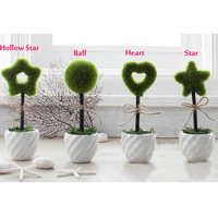 Creative mini simulation bonsai trees artificial heart-shaped spherical pentagram small potted size7*7*23cm Freeshippig