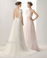 Free Shipping Elegant Fancy One Shoulder Tulle Appliques A Line Princess Pink White Wedding Dresses 2013 New Design
