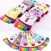 5pairs/lot Free Shipping Five fingers cute cartoon socks toe socks women's anti-barbiers socks novelty socks creative gift