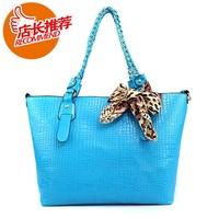 women's fashion leopard print bow snakeskin handbag one shoulder bag  Free Shipping