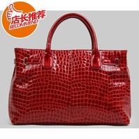 handbag crocodile pattern genuine leather women's handbag casual fashion bag genuine leather bag  Free Shipping