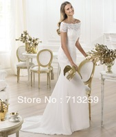 2014 Mermaid Off-shoulder Vintage Beach Wedding Dresses Chiffon Custom Made Court Train Appliques Geogrous Bridal Reception Hot