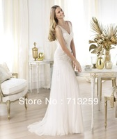 2014 Sexy V-neck Sheath Court Train Simple Bridal Wedding Gowns Custom Made Elegant Appliques Corset Back Sheer Cheap Dresses
