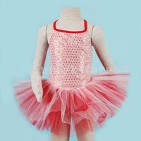 Free Shipping Girl Ballet Dance Dress Gymnastic Leotard Straps SequinTutu 5-6 Yrs - Red