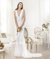 2014 Sexy V-neck Mermaid Wedding Dresses Chiffon Custom Made Chapel Train Elegant Pleats Exquisited Appliques Long Beach Bridal