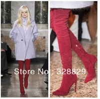 Hot Selling 2014 Newest Top Quality Designer Sexy Pointed Toe Over the Knee Boots For Women Red Thigh High Thin Heel Boots
