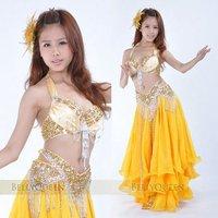 BELLYQUEEN~#848 Belly Dance Costume 2Pcs(Bra+Belt),3Pcs(Bra+Belt+Skirt),Sexy Professional Belly Dance Wear Gold Color
