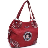 Betty Boop Shoulder Bag Leather Handbag with Rhinestone and Cone Studded Accents