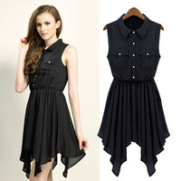 Free Shipping Summer Girls Pleated Chiffon Short Dresses Hand Beaded Round Neck Vintage Flower Floral Cute Casual Dress DM131617