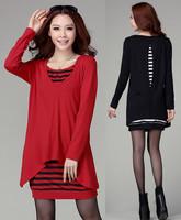 2013 Women Autumn Winter plus size OL Elegant Slim Lace Patchwork Long sleeve one-piece dress