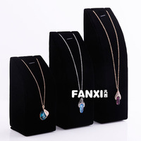 Free Shipping Black Velvet  Necklace Display Stand Pendant Jewelry Display Holder 3 pc/set