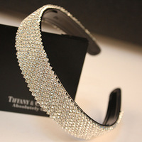 Top fashion women diamond wide hair bands slip resistant rhinestone belt hair pin women's hair accessory